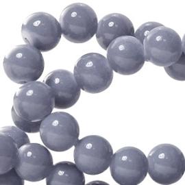 15 stuks Keramische Glaskralen 8mm  Graphite grijs