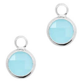 2x Hangers van crystal glas rond 8mm Turquoise blue opal-silver