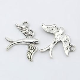 10 x Tibetaans zilveren bedel van een vogel  zilver 20 x 17 x 2mm gat: 2mm