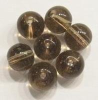 10 Stuks Glaskraal rond transparant Black Diamont 8 mm