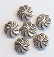 10 x antiek zilveren kunststof kraal bloem 11 mm
