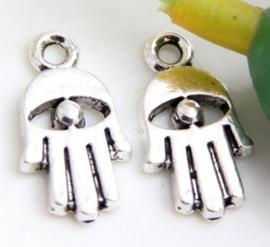 4 stuks tibetaans zilveren bedeltje 19x12mm