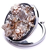 Schitterende make up spiegel met kristal & strass, juweeltje! Diameter 70mm