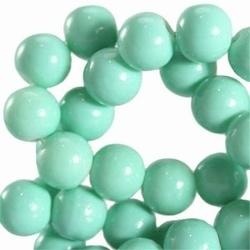 15 stuks Glaskraal rond met keramiek coating Spearmint Groen. 8 mm