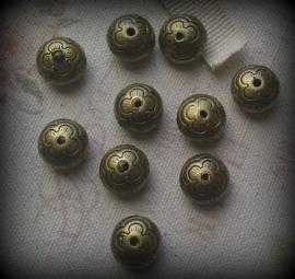 Metallook kralen  geel koper