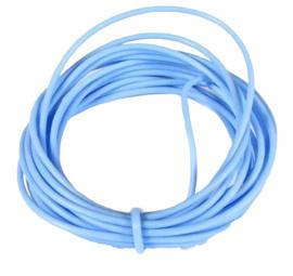 100 cm hol Rubber DQ koord 4mm per meter geknipt licht blauw