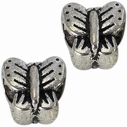 Per stuk European Jewelry kraal metaal Vlinder antiek zilver 11 mm