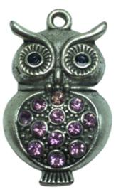 1 x uil hanger met strass steentjes 38 mm oogje 2 mm roze