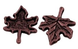 6 x Tibetaans Zilveren Blad 17x14 x 2,5mm rood koper kleur