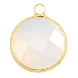 Crystal glas hanger rond 16mm Crystal white opal-Gold