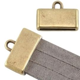 Per stuk DQ DQ metaal eindkap met oog (voor 3 x 5 mm plat leer/aztec) Geel koper (nikkelvrij) Maat: ca. 18x13mm (Ø15x2mm)