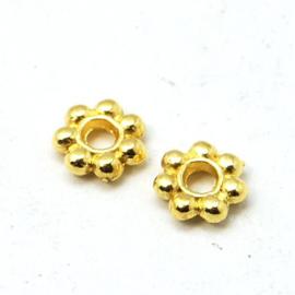 25 stuks tibetaans zilveren kralen tussenzetsels 4mm goud kleur gat: c.a. 0,5mm