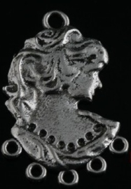 2 x Prachtige Tibetaans zilveren hanger vrouw 35x23mm