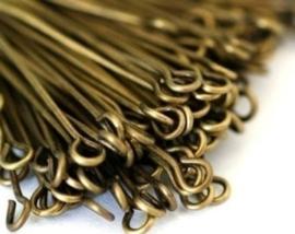 100 stuks Kettelstiften 60 mm geel koperkleur