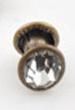 50 sets metalen studs rond met strass ± 6,5x6mm geel koper kleur