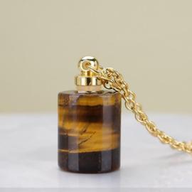 Gedenk hanger mini urn van half edelsteen Tijger Oog met RVS ketting