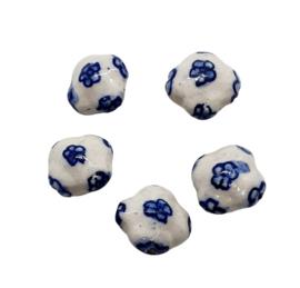 5 stuks Keramiek Delfts blauwe kralen porcelein 18 x 11mm bloemen