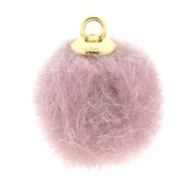 2 x Pompom bedels faux fur 16mm goud Roze