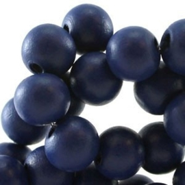 20x Hout kraal 8 mm Monaco Blue
