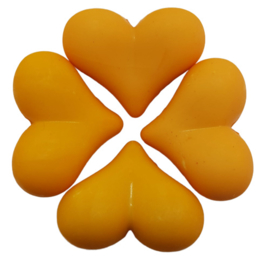 5 x Acryl kraal met hart licht Oranje 17 x 22 x 10 mm; Gat 2 mm