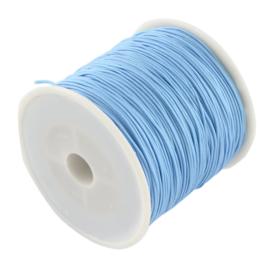 1 rol 90 meter gevlochten nylon koord, imitatie zijden draad 0,8mm ligt sky blue
