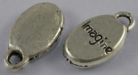 """10 stuks Tibetaans zilveren bedeltjes """"Imagine"""" 8,5 x 15,5 x 3mm gat 2,5 mm"""