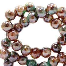 15 stuks Glaskraal gemêleerd 8 mm Brown-turquoise