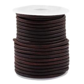 50 cm DQ Leer rond 3 mm Vintage auburn brown