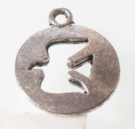 3x Tibetaans zilveren bedel van een vogel 18 x 15mm oogje: 1,5mm