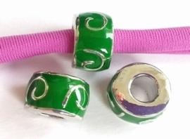 Per stuk European Jewelry kraal met Groene epoxy antiek zilver 11 mm