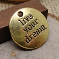 4 x Tibetaans zilveren bedeltje live your dream 19 x 19mm gat: 3mm geel koper kleur