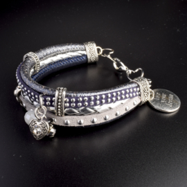 Prachtige armband, verstelbaar met metalen elementen bedel live your dream