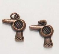 2x Antiek koperen metalen bedel Fohn 17 mm