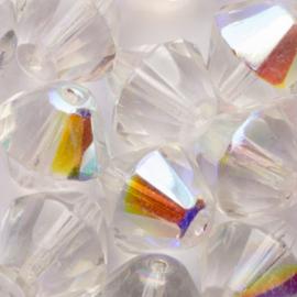 10 x Bicone Tsjechië  Kristal kraal 14mm kleur: transparant Gat: 1mm
