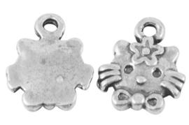 10 x tibetaans zilveren bedeltje van een kat 9 x 12,5 x 2mm gat: 1,5mm