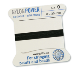 Nylon Power no stretch - extra strong 2 meter met naald  No: 0 Ø 0,30mm zwart