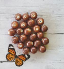 10 stuks Keramische glaskralen  10mm bruin