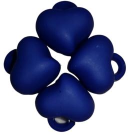 5 x Acryl bedel hart Donker blauw 15 x 15 x 10mm; gat 3mm