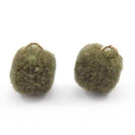 2 x Pompom bedel met oog 15mm Olive green