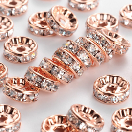 50 stuks vergulde Kristal Rondellen 10mm Rose gold