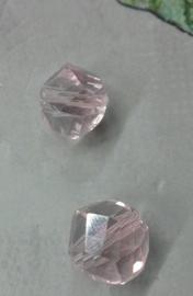10 x mooie helix glaskraal facet roze 10mm Gat:1mm