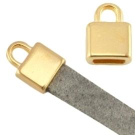 DQ metaal eindkapje vierkant (voor 5mm plat leer goud  ca. 7x6x5mm Ø 5.2x2.2mm