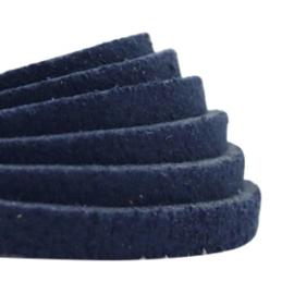 90cm DQ leer suède plat 5mm Dark blue