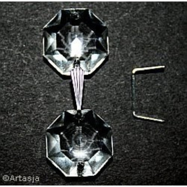 10 x Koppelstuk kroonluchterkralen, 12x8 mm, zilver