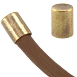 4 x DQ metaal eindkapje tube vorm geel koper  ca. 4 x 2 mm (voor 2mm draad)