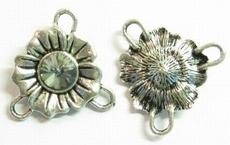 Per stuk Metalen tussenzetsel bloem met strass-steen Black diam 24 mm
