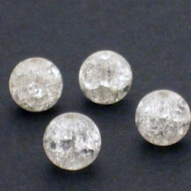 20 stuks crackle kralen transparant maat 8mm
