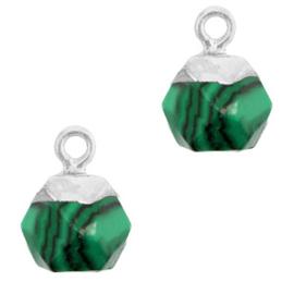 1 x Natuursteen hangers hexagon Green-silver Peacock stone