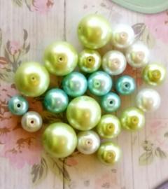 15 Stuks glasparelmix 8 t/m 12mm blauw groen wit