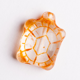 5  x schildpad kraal 19x14x8 mm kleur: oranje gat: 1mm